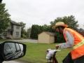 Vrijdag, 30 september zien we -vanuit de auto- deze Amish, al steppend...
