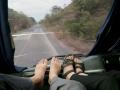 speedboot, taxi, een bus en dan deze luxe bus waar we bovenin een pracht plek krijgen!