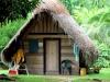 Veel dorpsbewoners wonen nog in zulke hutten, met een koelhoudend palmblad-dak.