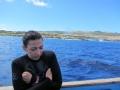 401 met deze duikinstructrice, die het na de eerste duik even heel erg koud had,